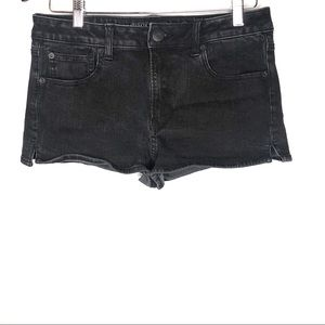 American Eagle black denim high rise shortie short